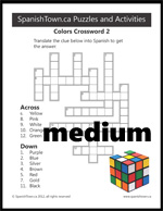 More Colors in Spanish Crossword Puzzle