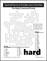 Body in Spanish Wordfind Puzzle