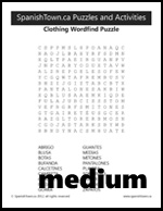 Clothing Vocabulary Wordsearch